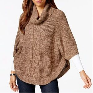 Macy's cowl neck cable knit sweater poncho